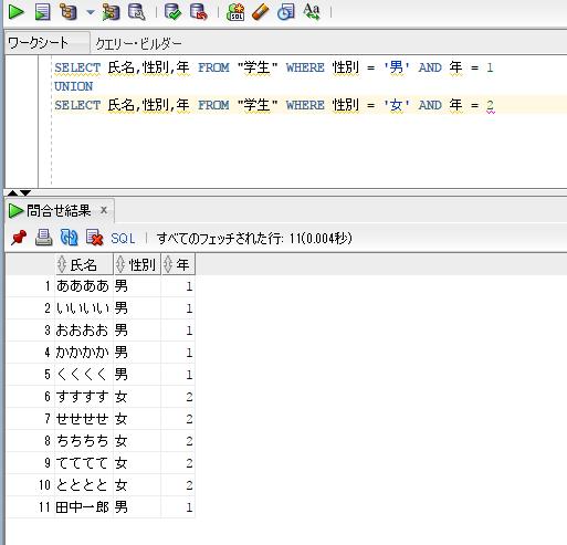 集合演算子を使ったSELECT結果の結合